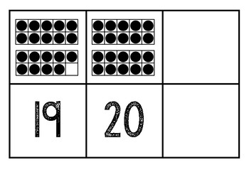 Matching Cards 11 to 20 Ten Frames