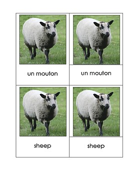 Matching Cards Animal Farms French and English