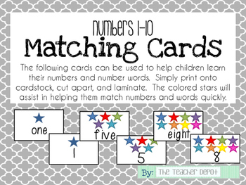 Matching Cards - Numbers & Words 1-10