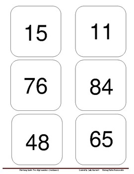 Matching Cards - Place Value - 2-digit numbers (ten frames)