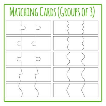 Matching Cards for 3  Template- Jigsaw Puzzle Clip Art Pack for Commercial Use