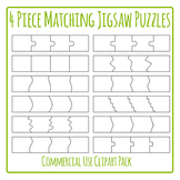 Matching Cards for 4 Template- Jigsaw Puzzle Clip Art Pack for Commercial Use