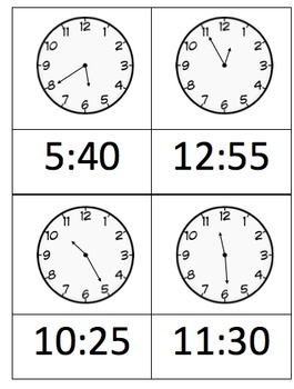 Matching Clocks - 5 minute intervals - Match Analog to Digital