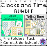 Telling Time and Matching Clocks File Folder and Activity BUNDLE for Special Ed