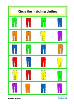 Basic Concepts Matching Clothes & Colors Autism Special Education FREE