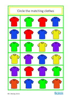 Basic Concepts Matching Clothes & Colors, Autism Special Education, SLP, ESL
