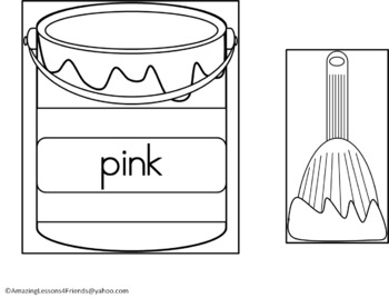 Matching Color Cards Paint Cans and Worksheets