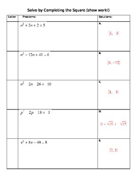 Matching - Completing the Square