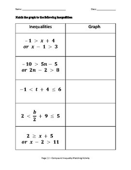Compound Inequality Matching Activity
