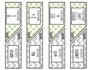 Matching Converting Fractions & Decimals 7th Grade Math Task Cards