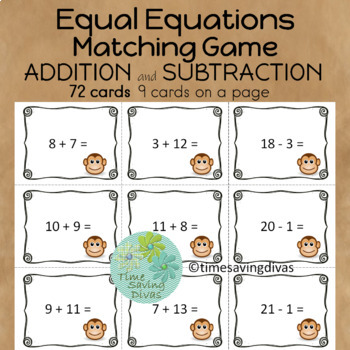Equal Equations Matching Game