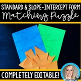 Matching Equations - Standard vs Slope-Intercept Editable Puzzle