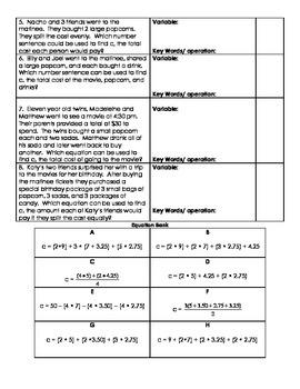 Matching Equations to Scenarios Movies