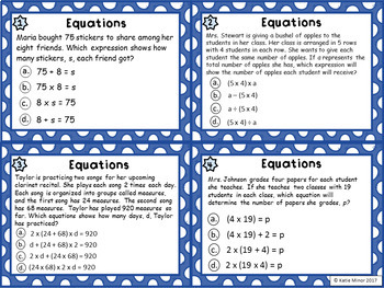 Matching Equations to Word Problems Task Cards (CC Aligned - 4th, 5th, 6th)