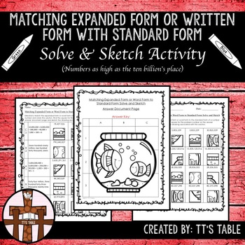 Matching Expanded Form or Written Form With Standard Form Solve & Sketch