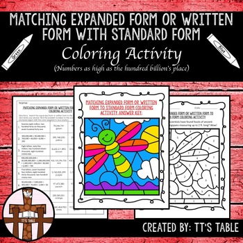 Matching Expanded Form or Written Form With Standard Form Coloring Activity