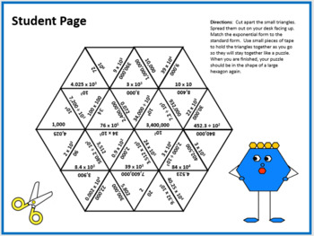 Matching Exponential Form to Standard Form (Powers of 10) Triangle Puzzle