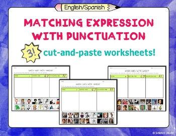Matching Expressions with Punctuation Marks: 3 Worksheets (English)