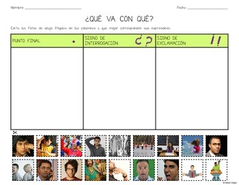 Matching Expressions with Punctuation Marks: 3 Worksheets (Spanish)