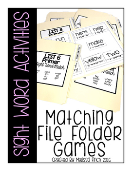 Matching File Folders Sight Word Activities- For Special Education