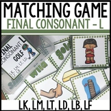 Matching Final Consonant CARDS Cover LK, LM, LT, LD, LB, L