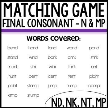 Matching Final consonants (n and mp)