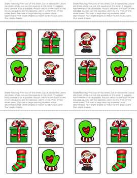 Matching Folder Game: Simple Christmas Icons for Special Education
