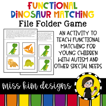 Matching Folder Game: Simple Dinosaur Icons for students w