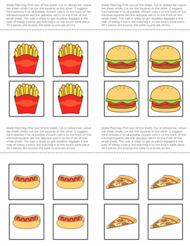 Matching Folder Game: Simple Fast Food for Early Childhood Special Education