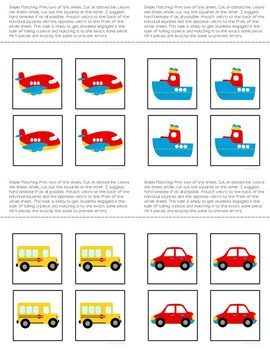 Matching Folder Game: Simple Transportation for Special Education