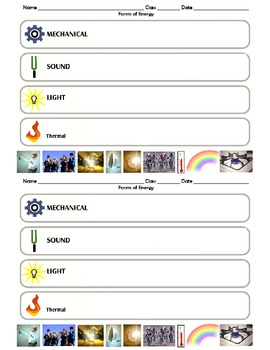 Forms Of Energy Matching Worksheets & Teaching Resources | TpT