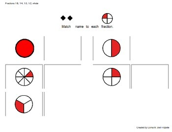 Matching Fractions! Eighth, Fourth, Third, Half and Whole