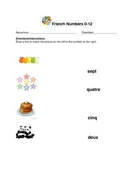 Matching French Numbers 0-12 Assessment