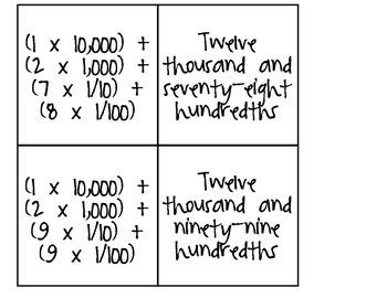 Math Matching Game Decimals 5.NBT.3