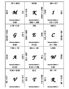 matching game decimals add subtract multiply divide 8 sets by summerking. Black Bedroom Furniture Sets. Home Design Ideas