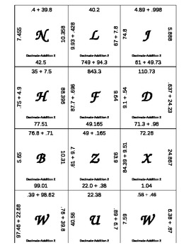 Matching Game - Decimals - Add Subtract Multiply Divide  8 sets