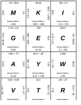 Matching Game - Decimals - Addition 1
