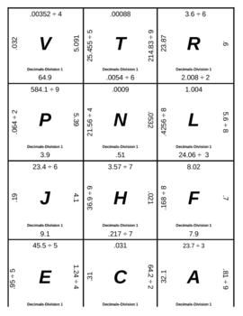 Matching Game - Decimals - Division 1