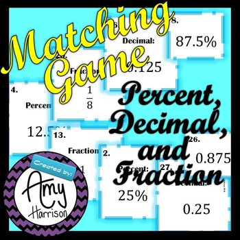 Fractions, Decimals and Percentages Matching Game