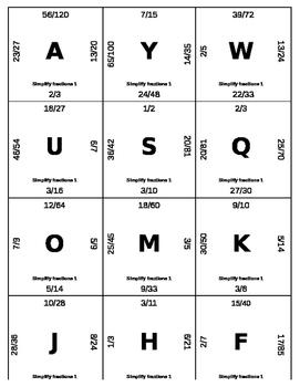 Matching Game - Fractions - Simplifying 1