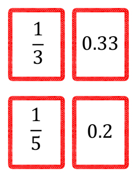 Equivalent Fraction and Decimal Matching Game