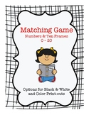 Matching Game Numbers and Ten Frames 1 - 20