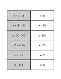 Matching Game: One Step Equations