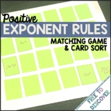 Exponent Rules Matching Game and Card Sort