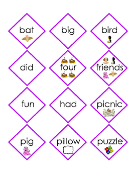 Matching Game Sight Word Short Story Trace Write Words Trace Diamonds Rhombus 4p