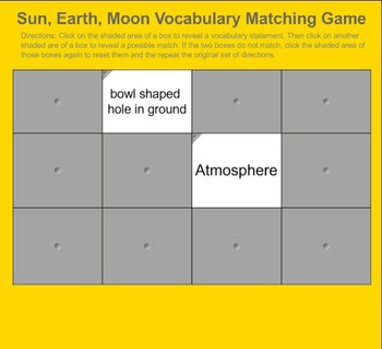 Matching Game: Sun, Earth, and Moon
