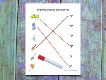 Matching Game for Spanish Consonant Blends - Empareja el grupo consonántico