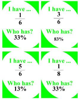 Matching Games Bundle (fractions, percents, decimals, equivalent expressions)