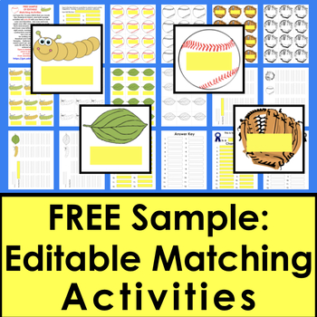 FREE SAMPLE Matching Games Editable For Your Own Items!