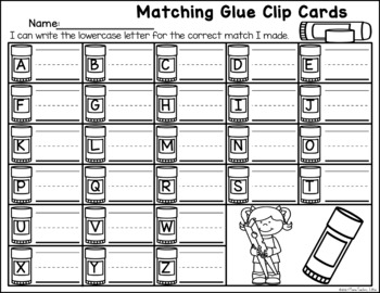 Matching Glue Letters Clip Cards